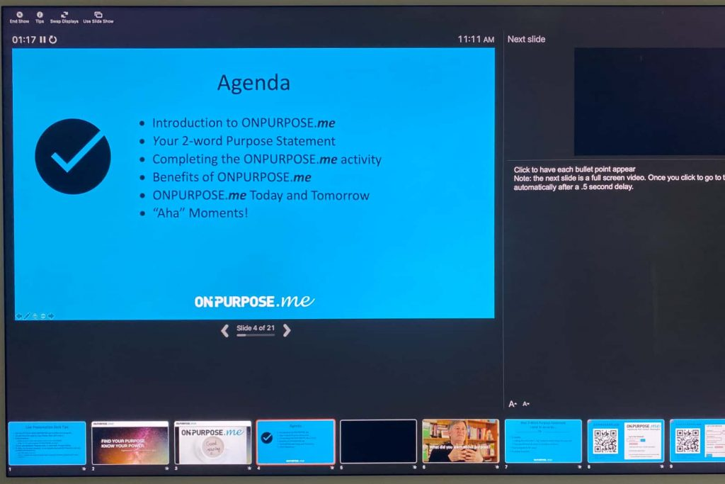 PowerPoint purpose training slide of On-Purpose Presenter training